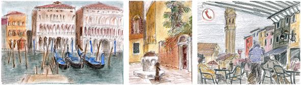 Illustration Architektur Venedig Pastell-Kreide